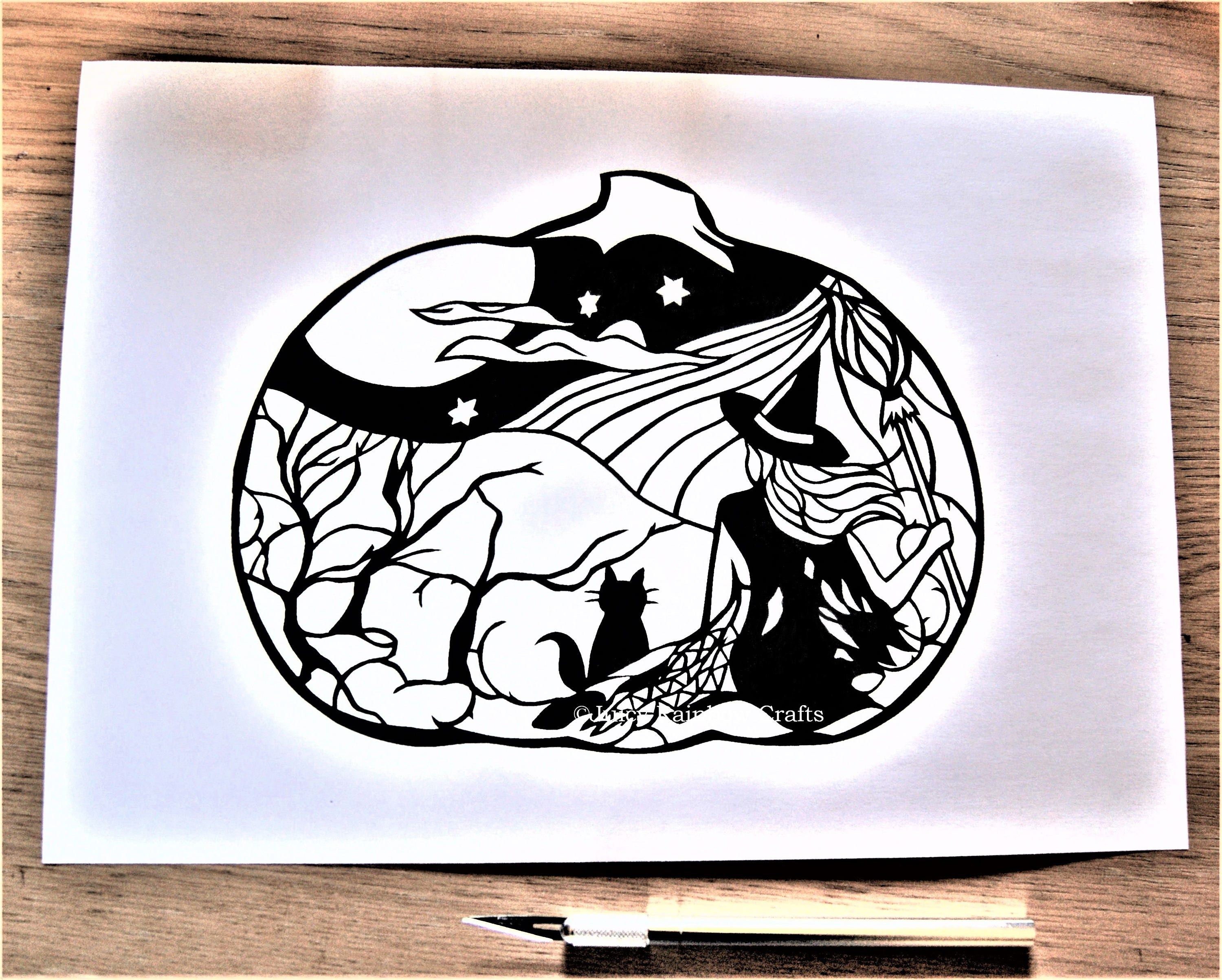 Halloween Pumpkin Witch Papercutting Template Personal Use
