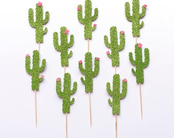 Cactus cupcake toppers. Party decorations. Cacti themed. First birthday party. Summer. Adult. Children. Kids.