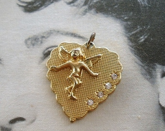 Betsey Johnson signed Mesh Texture Cupid Heart Charm Pendant