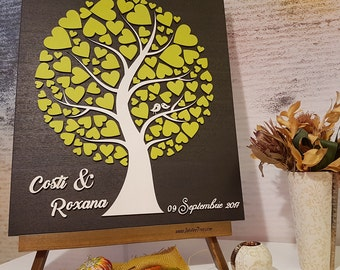 Personalized Wedding Gift - Jubilee Tree Custom Guestbook Alternative Yellow Black White Sign in Guest book Wood hearts Unique idea Rustic