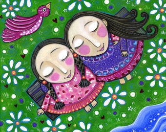 "Friendship art print friends twins sisters girls room art folk art best friends art nursery wall art decor kids room picture - ""Friendship"""