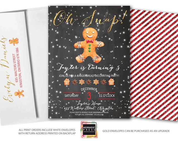 Gingerbread Invitation // Gingerbread Decorating Invitation // Gingerbread Cookie Invitation // Chalkboard // Winter // KINGSTON COLLECTION