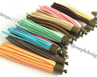 wholesale 100pieces 80mm Assorted colors suede leather Bronze metal caps ear tassel charms
