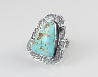 Huge Turquoise Ring Sterling Silver Statement Ring Hand Textured OOAK Scalloped Ring