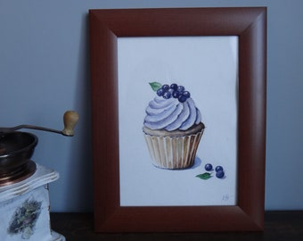 Original Watercolor Illustration on paper.Capcake.Kitchen  Wall Art.