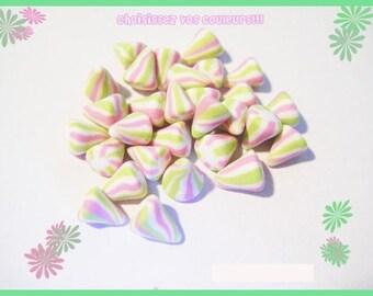 30 miniature berlingots Fimo polymer clay for jar - pastel