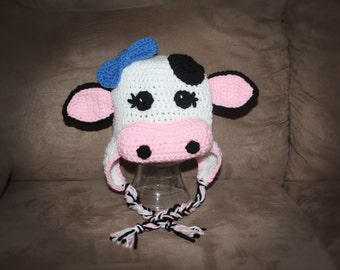 Cow/Bull Hat pdf PATTERN, size newborn to adult, farm animal hat to crochet, photo prop, digital download
