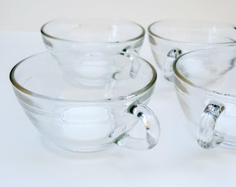 Set of 4 Duralex small coffee cups, clear glass, French Vintage Bistro Glassware