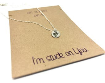 Cactus Necklace - Sterling Silver Cactus Necklace - Cactus Charm - Stuck on You - Valentines Day Gift - Funny Necklace - Gift for her