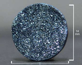 Round Cut Druzy, Steely Blue , 14 x 14 mm, Druzy Cabochon for wire wrapping, Quartz Druzy Gemstone, Sparkling Geode-DS1703