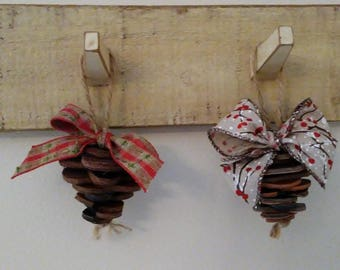 Pinecone Christmas Ornament - Made from Upcycled Leather Belts
