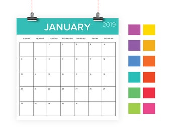 Square 2019 Calendar Template | INSTANT DOWNLOAD | Color Coded Rainbow Large Monthly Printable Minimal Desk Calender | Prints 12 x 12 Inches