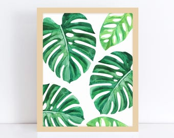 Monstera Art Print, Monstera, Tropical Leaf Prints, Tropical Leaf Print, Master Bedroom Decor, Green Plant Print, Office Art, Printable Art