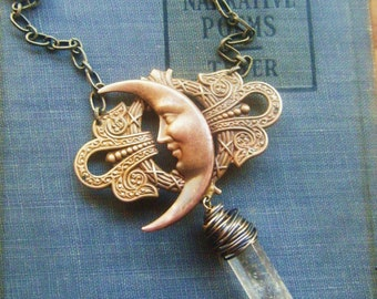 Crescent Moon and Crystal Point Necklace celtic pattern with real quartz crystal point