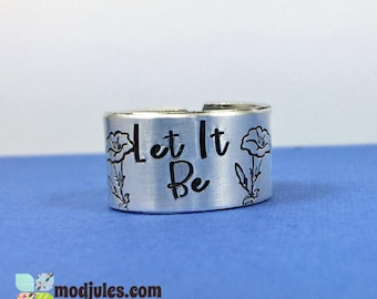 Let It Be Ring, Catholic Ring, Marian Ring, Hand Stamped Christian Jewelry, Religious Jewelry, Lily Ring, Religious Ring, Fiat