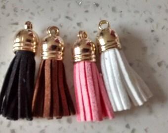 Set of 4 N5 3 6 cm long suede tassels