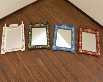 Dollhouse miniature hand painted  mirror frame 1:12 scale in the Portuguese folk-art style with tiny flowers and leaves
