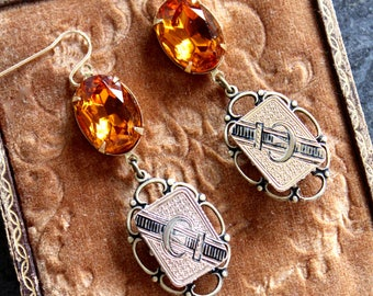 Victorian Taille D'Epargne cufflinks gold amber topaz stunning earrings antique vintage cuff links up cycled Edwardian belt buckle swarovski