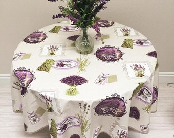 French Tablecloth, Provence Tablecloth, Lavender Tablecloth, Coated Tablecloth