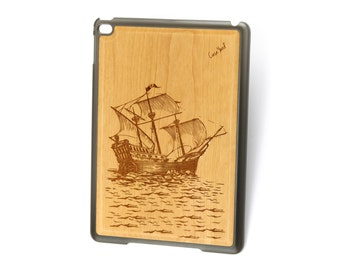 iPad Air case, iPad Mini case, iPad Mini 2 case, iPad 3 case, iPad engraved case, custom iPad case,Sailboat wood engraved case