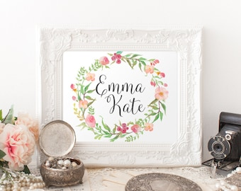 Personalized nursery Printable Art, Custom Name printable art, Baby Girl Nursery decor, Nursery art, Baby Girl Nursery Print, gallery wall