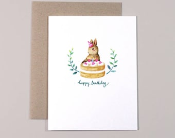 Cake Bun Card // Birthday Card, Bunny Card, Cute  Birthday Card