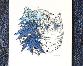 Oh Hi Cannabis Cat - 8x10 print by PaperPuffin