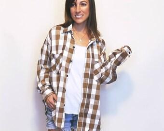 Vintage Flannel, Plaid Button Up 90s Grunge Tan Brown 100% Cotton Comfy Oversize