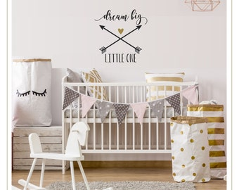 Dream Big   Dream Big Little One Wall Decal   Personalized Name Decal   Girl Nursery Decor