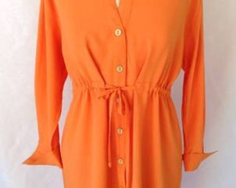 "HECK YEAH FASHIONS:Jams World (""Collector's Edition""), Mandarin Orange Solid Color Summer Tunic/Top, Curved Hi-Lo Hem, Gathered Tie Waist"