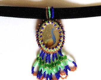 Beadwoven Peacock Pendant, Colorful Peacock, Bird Choker, OOAK Green Blue Gold Peacock Necklace - Black Velvet Bird Choker by enchantedbeads