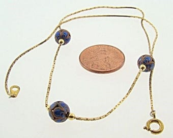 "1 Vintage Brass Blue Filigree Beaded 16"" Box Chain Necklace V910"