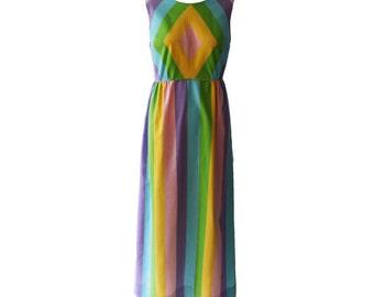 Vintage Concept Swirl Pastel Cotton Striped Maxi Dress 1970s