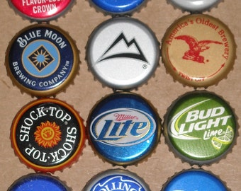 100 Happy Hour beer bottle caps: Budweiser, Bud Light, Coors Light, Miller Lite, Michelob Ultra, Rolling Rock, Blue Moon, Yuengling, PBR