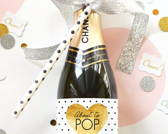 About to Pop Baby Shower Mini Champagne Bottle Labels - Faux Gold Foil Weatherproof Ready to Pop Baby Sprinkle Baby Shower Favor Decoration