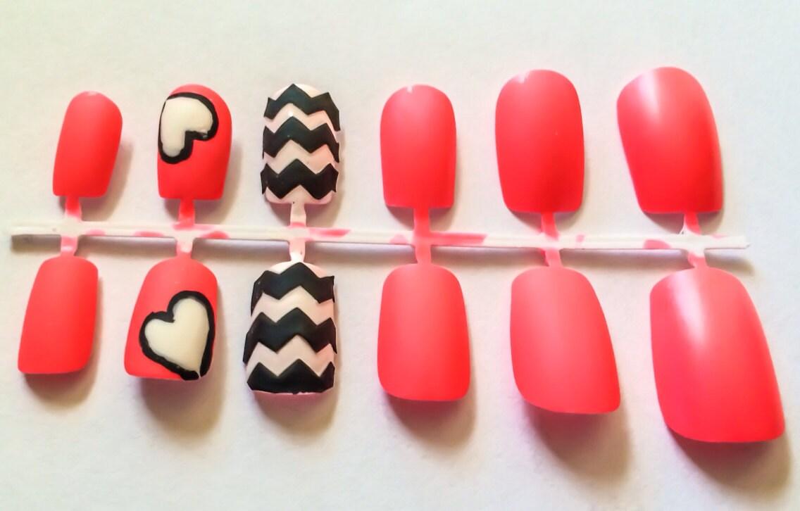 Matte Fake Nail Set Chevron False Nails Pink Acrylic Nails