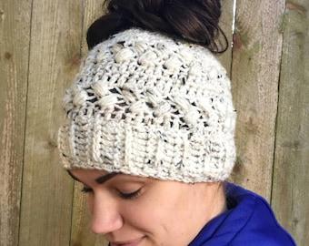Messy Bun Hat, Bun Hat, Messy Bun Beanie, Ponytail Beanie, Winter Hat, Gift For Her, Wife Christmas Gift, Crochet Hat, Faux Fur Pom Pom