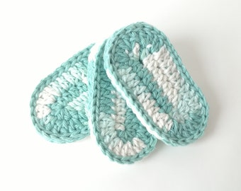 Crochet Teething Biscuit Cotton Teeth Baby Toy Natural Crochet Cotton Teether / Baby Shower Gift Stocking Stuffer / Colorway Sea Spray