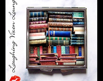 Vintage Books Pill Box - Book Compact Mirror - Pill Case - Bag Mirror - Purse Mirror - Makeup Mirror - Style-G