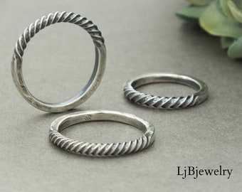 Silver Twisted Thumb Ring, Stacking Ring, Sterling Silver, Silver Stacking Rings, Metalsmith, Handmade Jewelry, Silver Jewelry