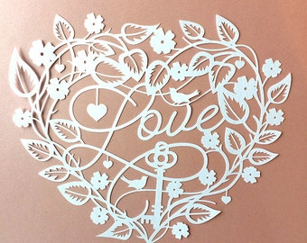 Papercut Template 'Love' Key to my Heart Valentines Wedding PDF JPEG for handcut & SVG for Silhouette Cameo or Cricut