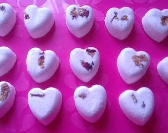 14 Mini Bath Bomb Hearts  200gms - Pack of 14, Bath Bomb Gift set - choice of fragrances and colours