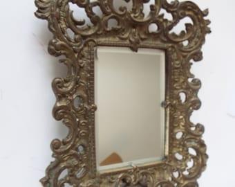 antique ornate  French Art Nouveau bronze  beveled mirror table mirror easel stand cherub putti