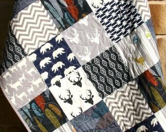 Navy Baby Quilt, Rustic Nursery Boy, Baby Bedding Deer, Children, Birch Forest, Deer Head, Deer Woodland Decor, Feather, Aztec Tribal, Gift