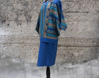 80s Vintage Dress | Blue Dress Linen | Striped Dress | Medium Dress M | Size 6 Dress | Batwing Dress | Tunic Dress | Boho Dress Hippie