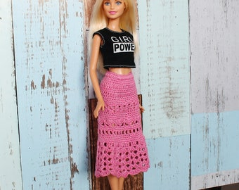 Barbie doll clothes, Handmade crochet skirt, Barbie Skirt, Petite Barbie skirt, barbie fashion, barbie outfit, barbie clothing, barbie doll