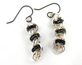 Chainmaille Earrings, Silver and Black Dangle Handmade Chainmail Jewelry