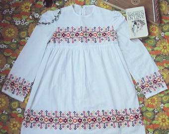 Vtg 60s Flower Child Embroidered Folk Mini Dress S