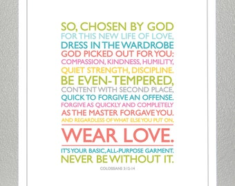 Baptism Gift - Colossians 3: 12-14 - Wear Love