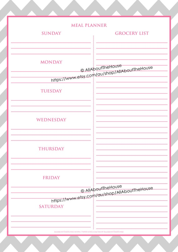 editable meal planner grocery list weekly meal planner menu